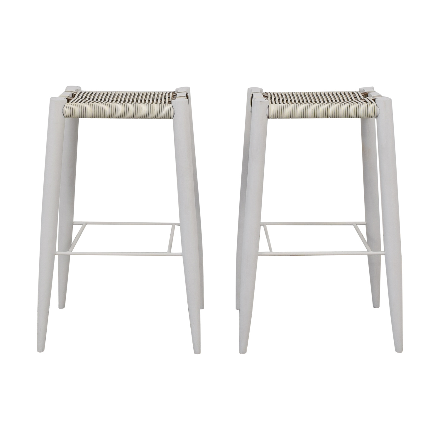 CB2 Nahlia Leather Bar Stools sale