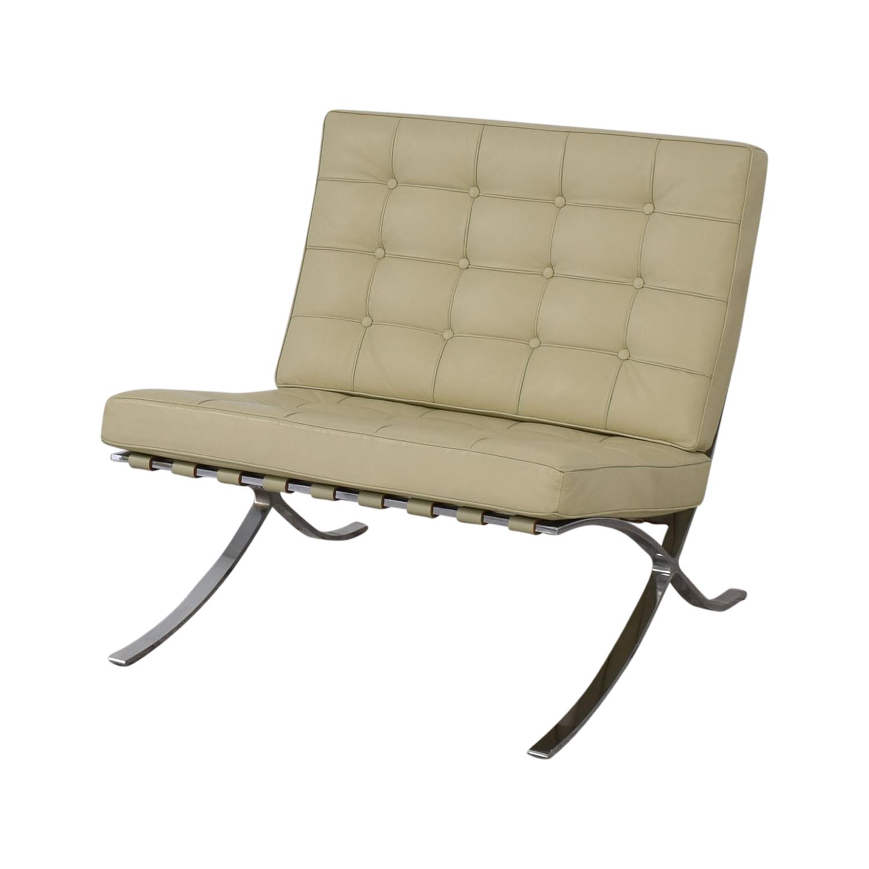 Barcelona-Style Armchair tan & silver