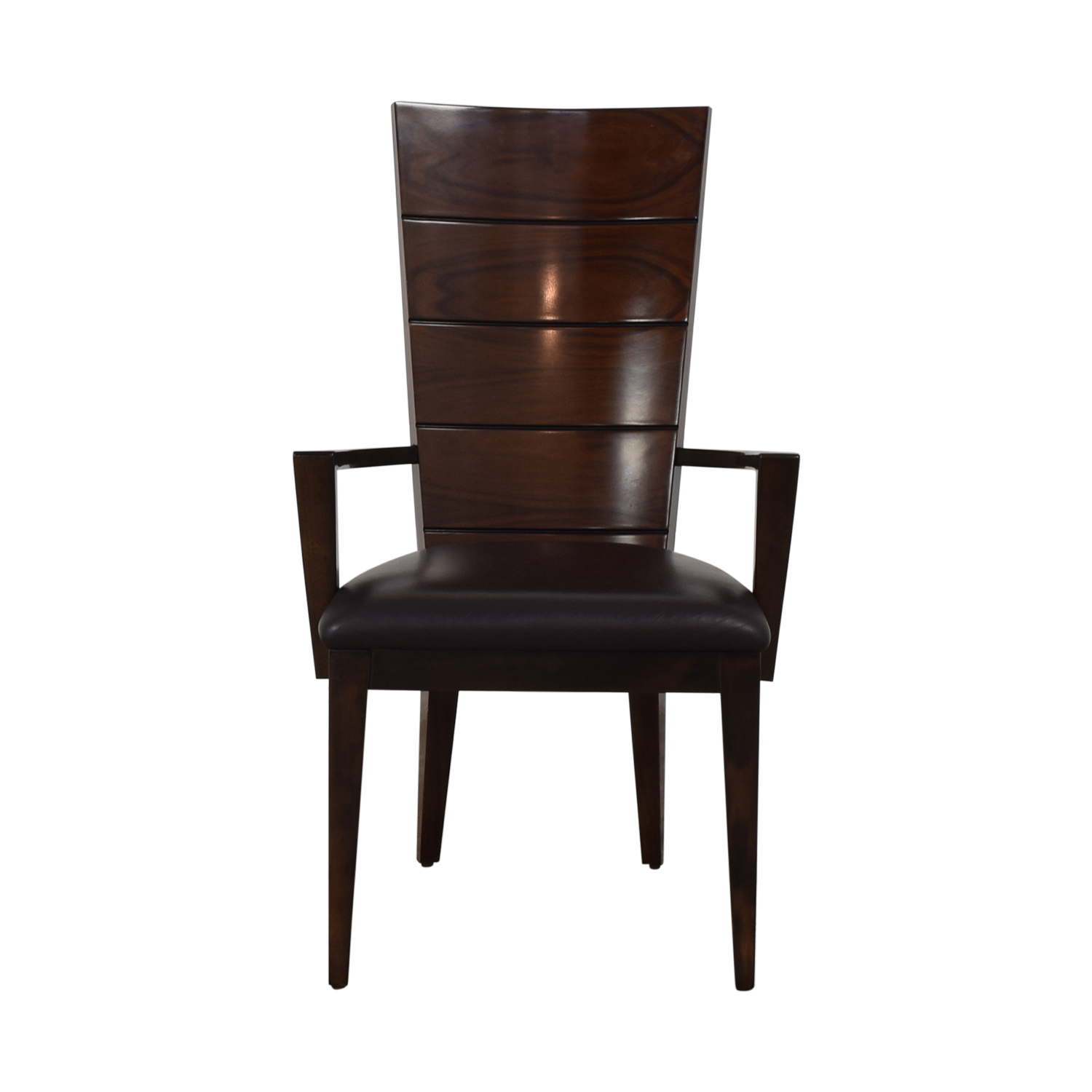 Elio High Gloss Wood and Leather Chair dimensions