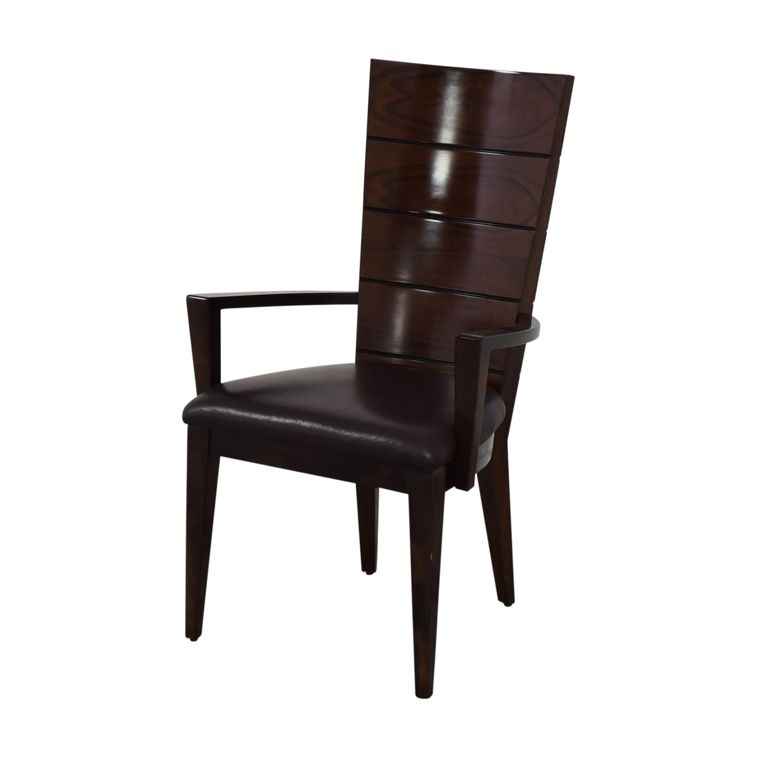 High Gloss Wood and Leather Chair Elio