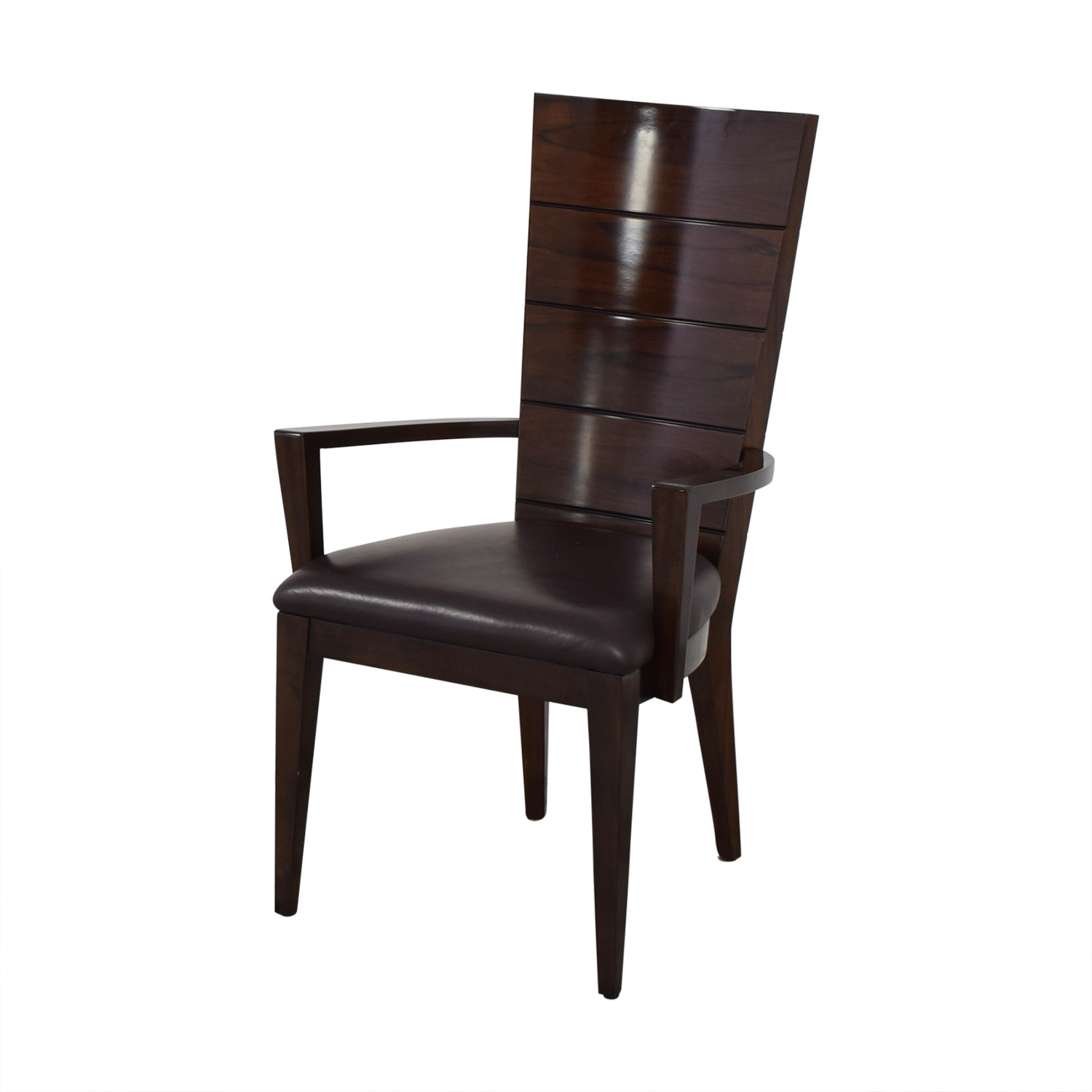 Elio Elio High Gloss Wood and Leather Chair on sale