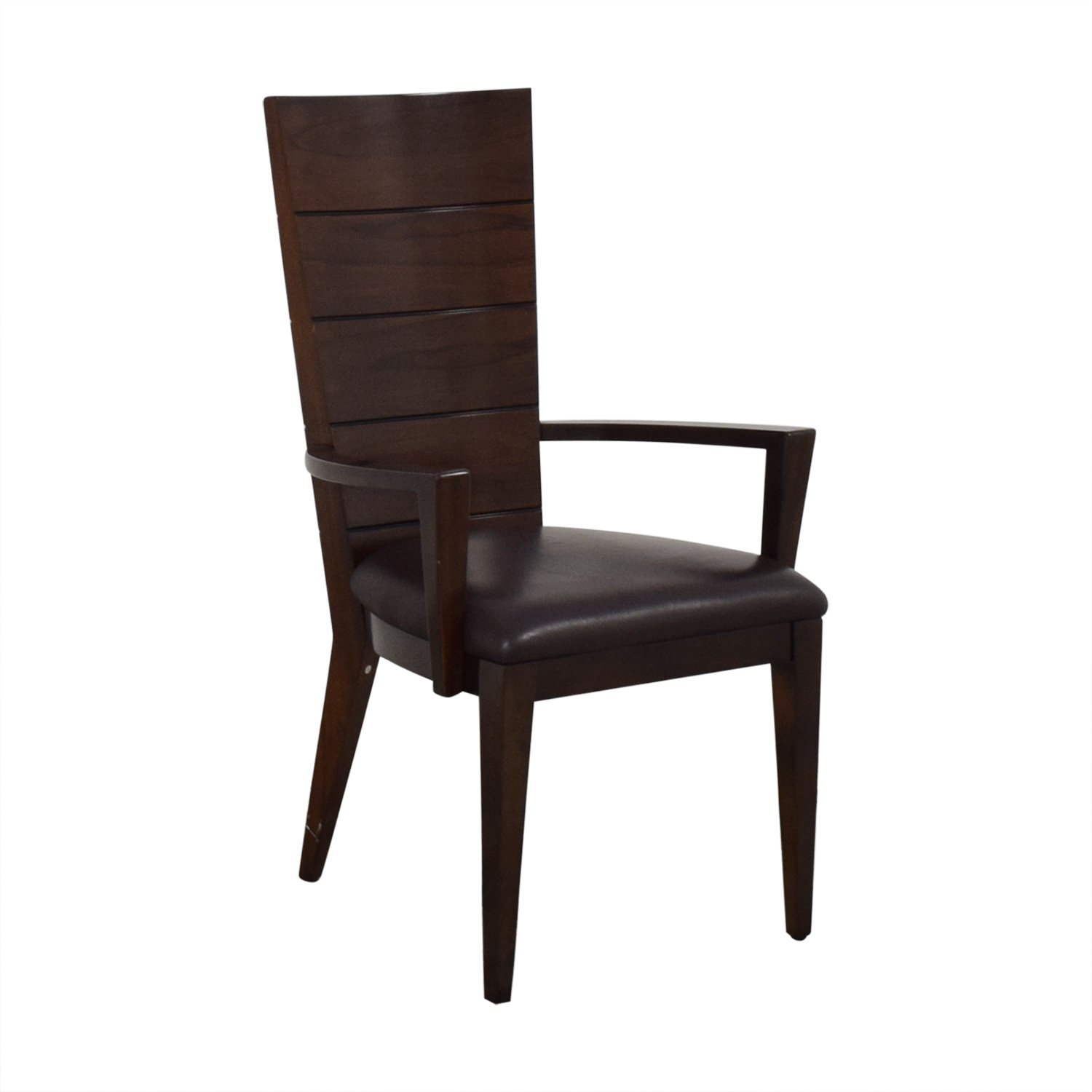 Elio Elio High Gloss Wood and Leather Chair Dining Chairs