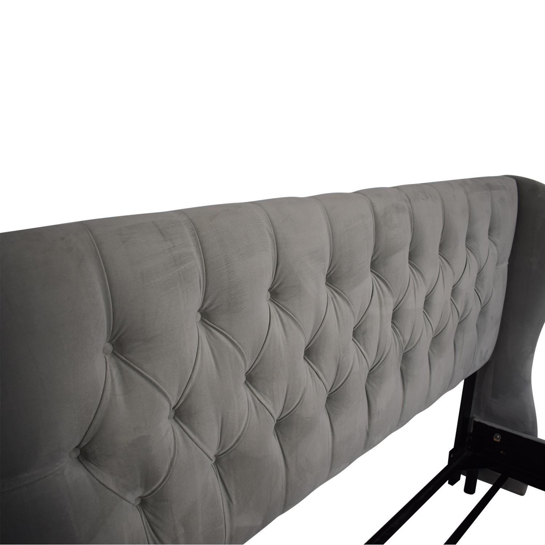 Skyline Furniture Skyline Upholstered Tufted Wingback King Bed Frame nj