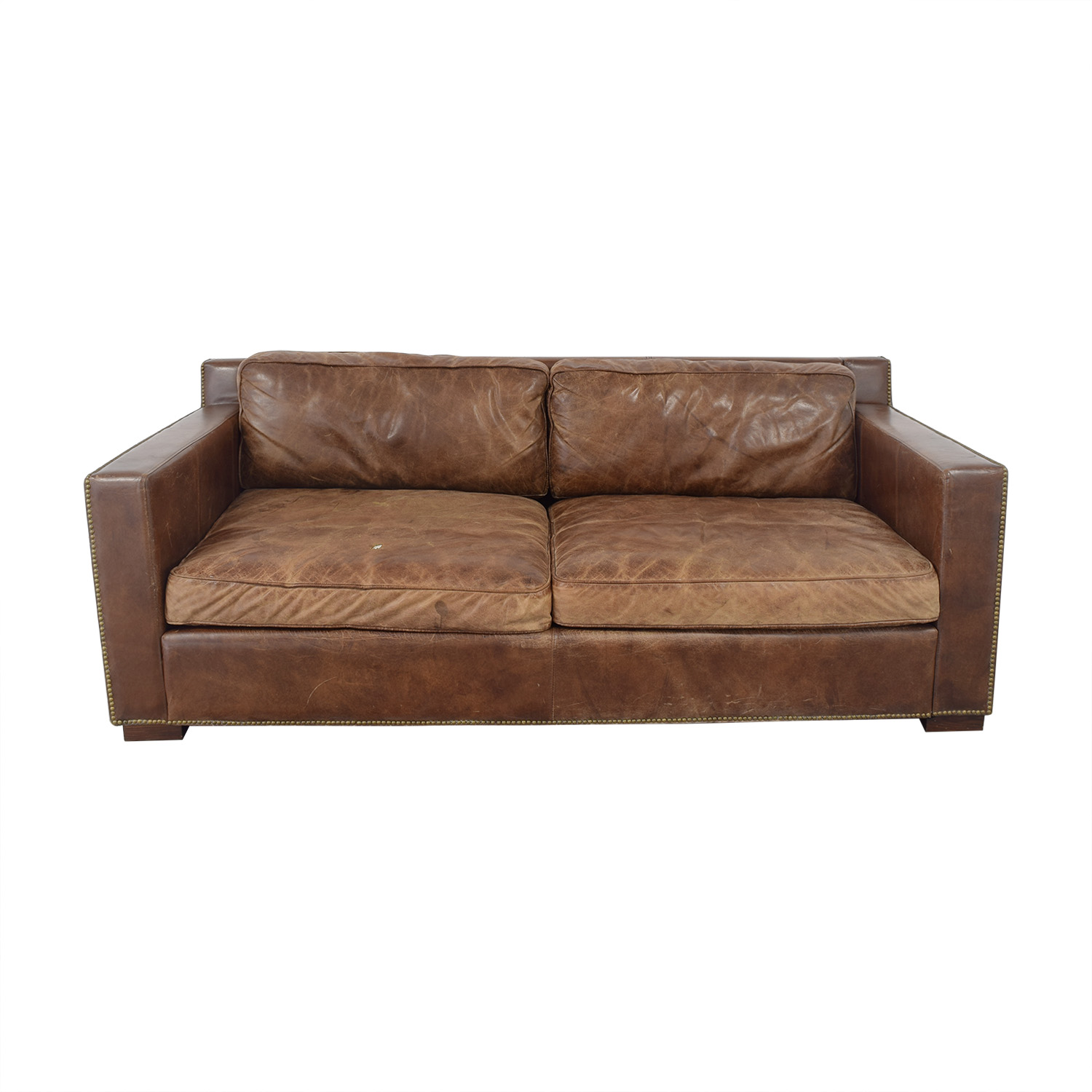 Restoration Hardware Restoration Hardware Collins Leather Sofa with Nailheads brown