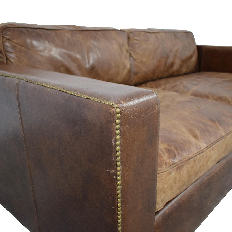 Restoration Hardware Restoration Hardware Collins Leather Sofa on sale