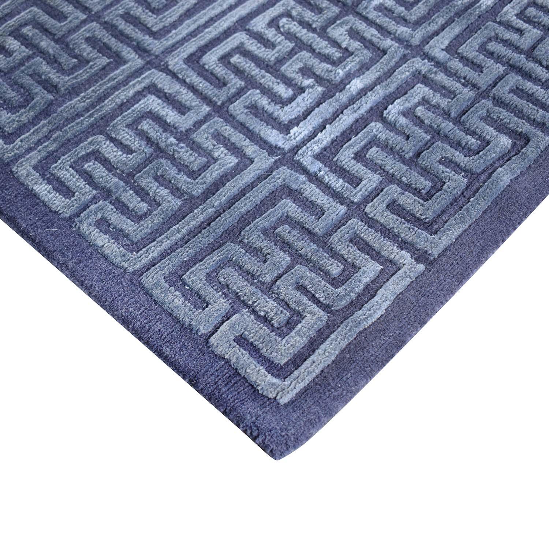 Nitzan Home Nitzan Home Collection Hand knotted Silk and Wool Geometric Rug blue
