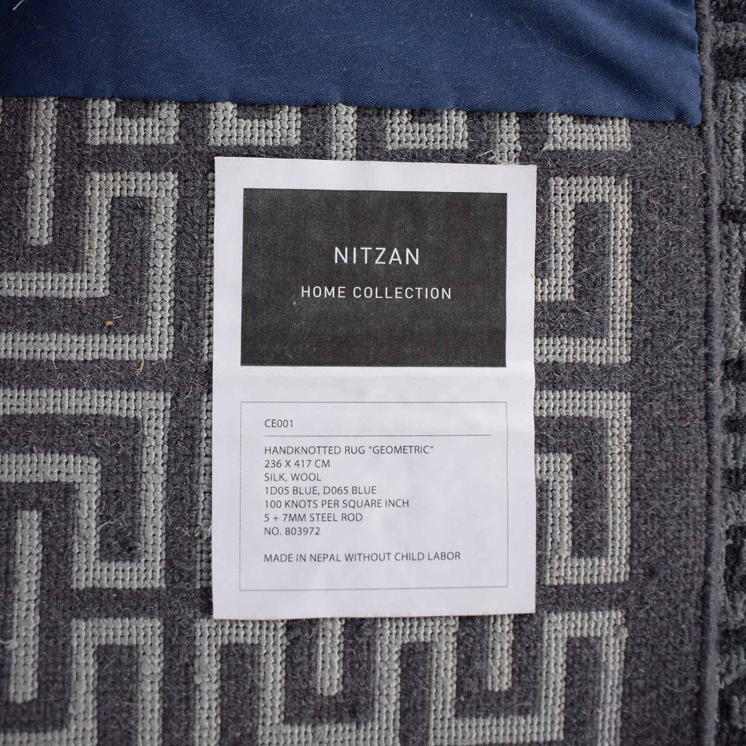 buy Nitzan Home Nitzan Home Collection Hand knotted Silk and Wool Geometric Rug online