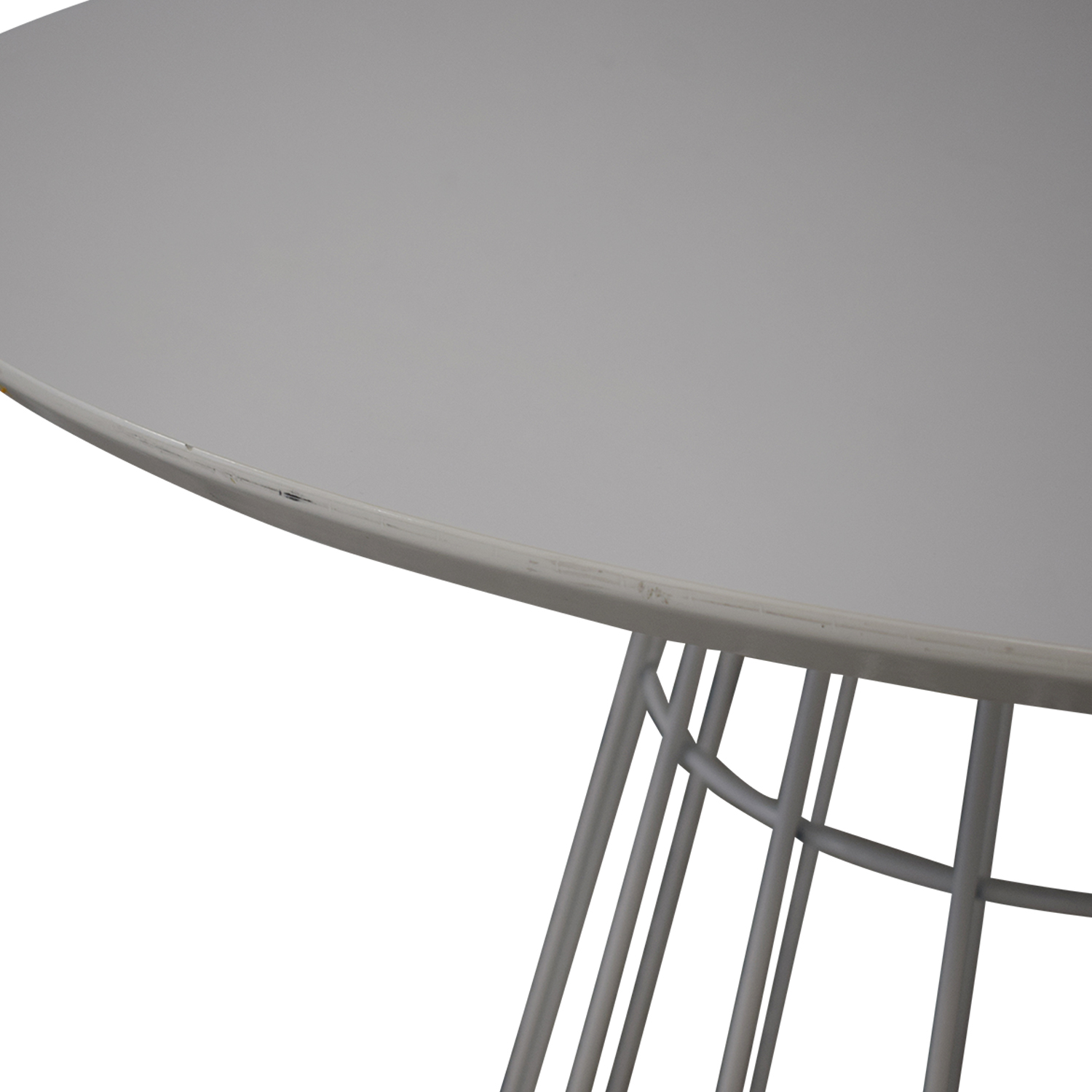 CB2 CB2 Compass Wire Base Dining Table Dining Chairs