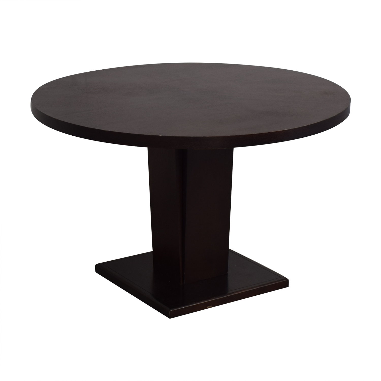 Crate & Barrel Crate & Barrel Espresso Round Dining Table for sale