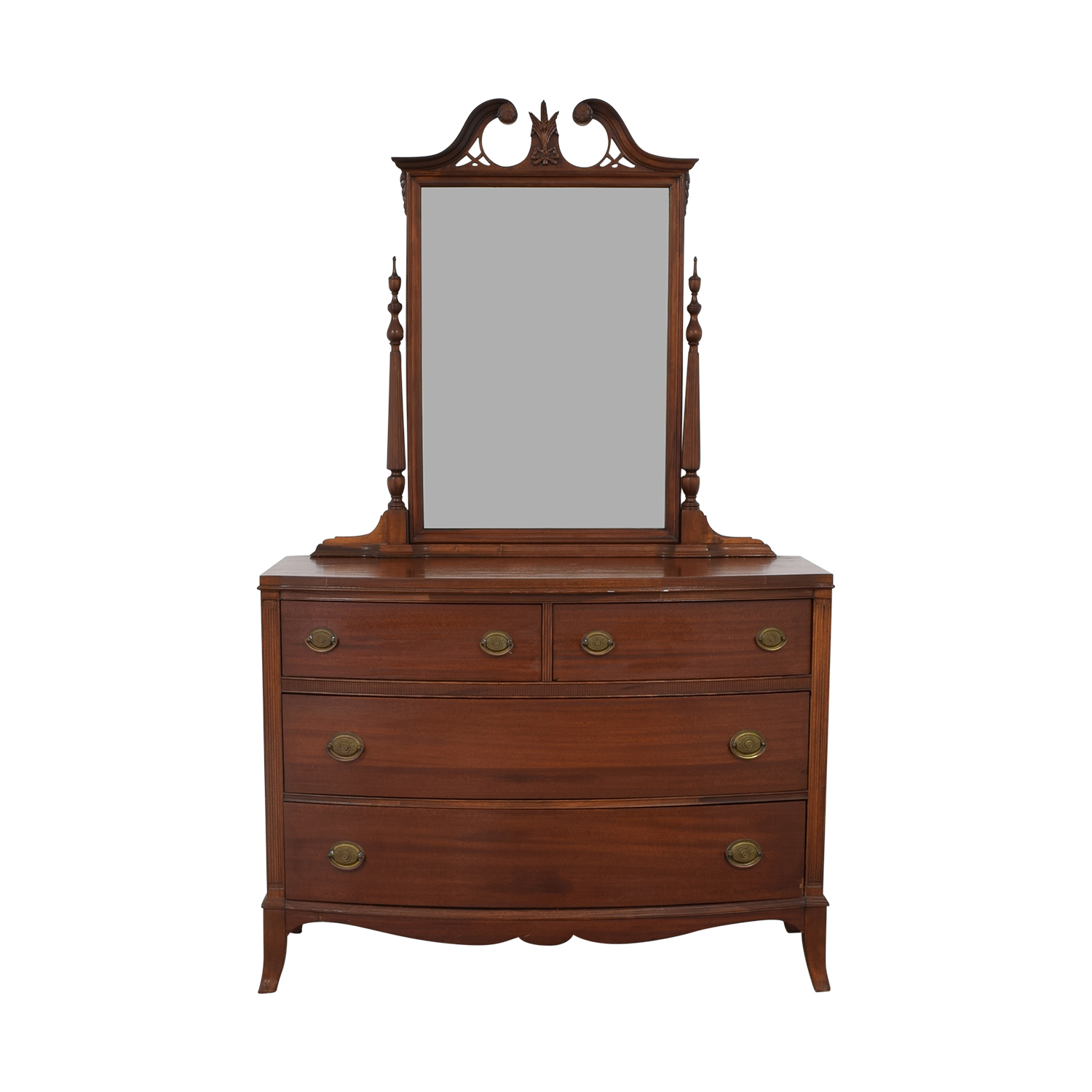 Antique Wooden Dresser with Mirror Storage