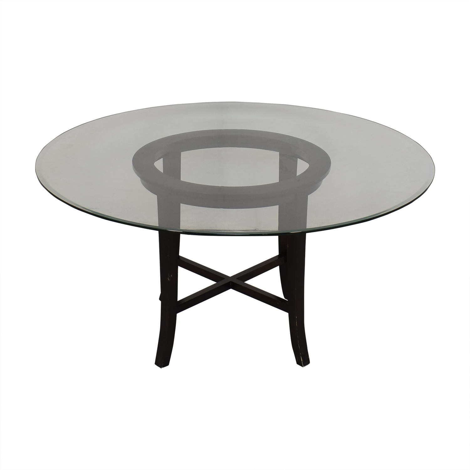 Crate & Barrel Crate & Barrel Halo Ebony Round Dining Table with Glass Top nyc