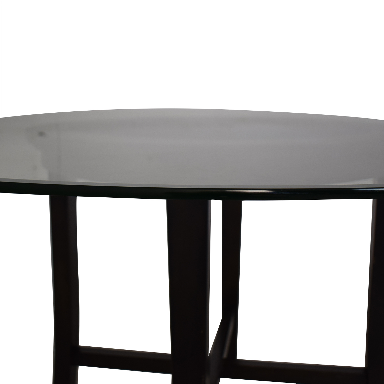 Crate & Barrel Crate & Barrel Halo Ebony Round Dining Table with Glass Top black