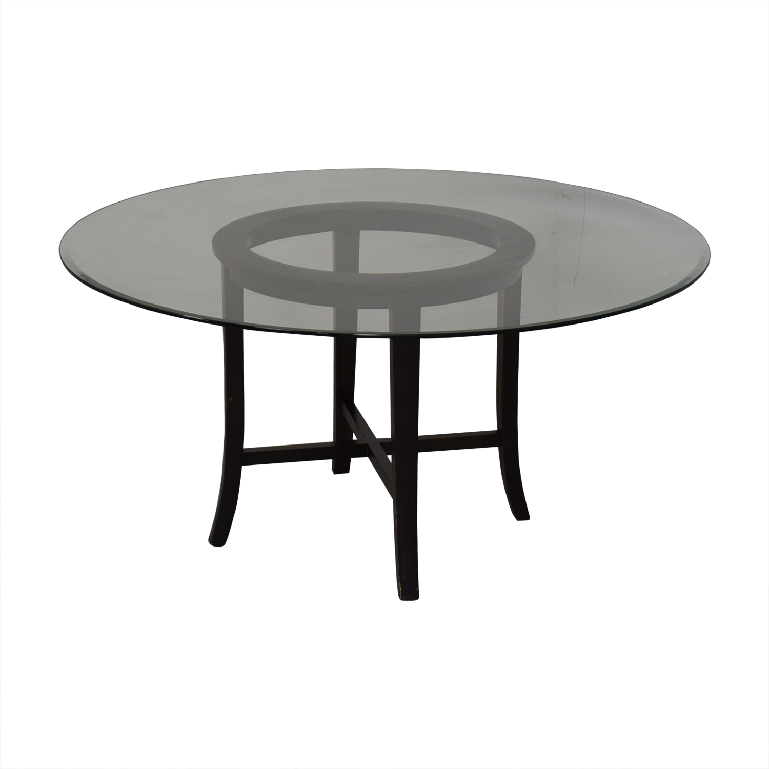 buy Crate & Barrel Halo Ebony Round Dining Table with Glass Top Crate & Barrel Tables