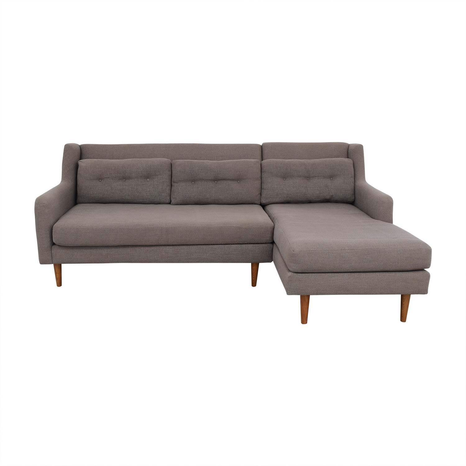 West Elm West Elm Crosby Mid Century Sectional Sofa with Chaise discount