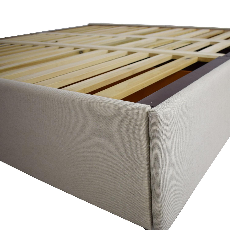 Pottery Barn Pottery Barn Upholstered Storage Platform Bed biege