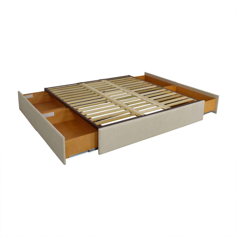Pottery Barn Pottery Barn Upholstered Storage Platform Bed on sale