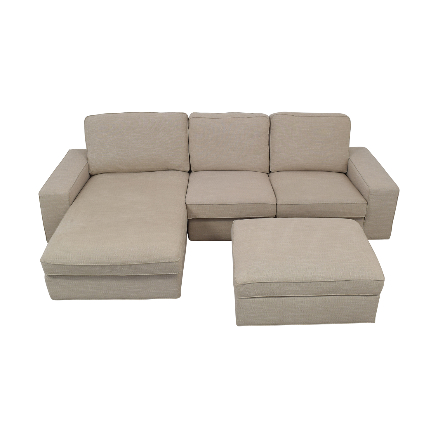 IKEA IKEA KIVIK Chaise Sofa with Ottoman Tan