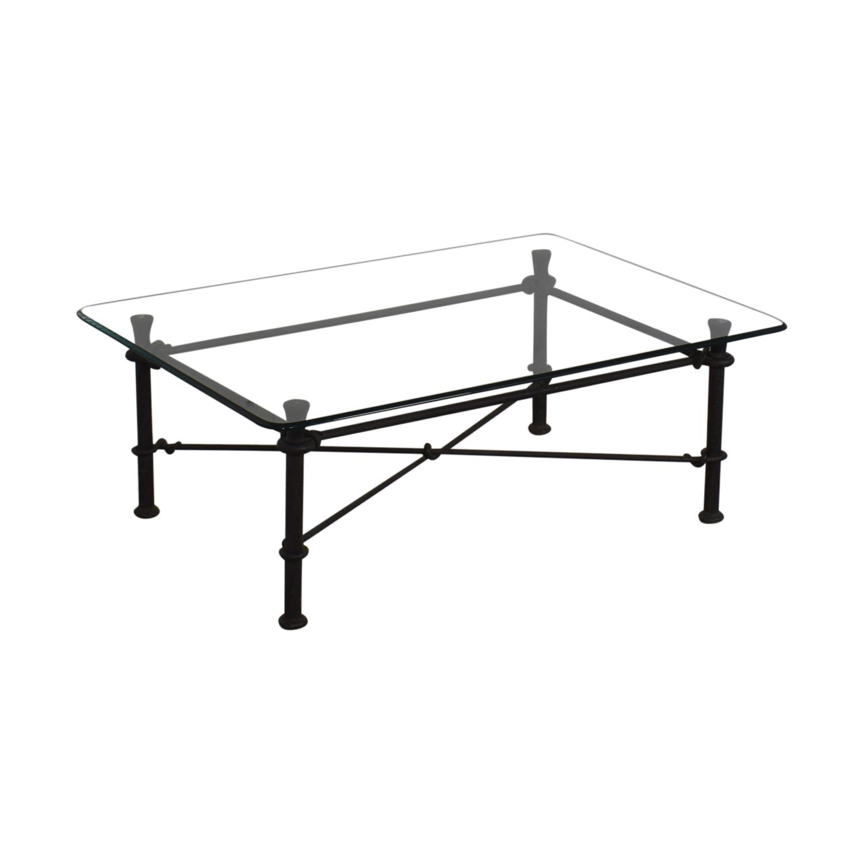 Ethan Allen Ethan Allen Glass Coffee Table with Iron Base dark grey