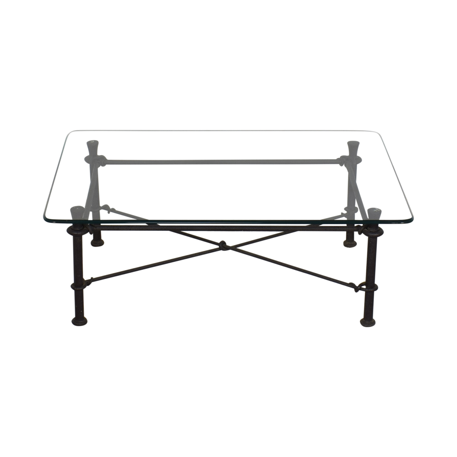 shop Ethan Allen Glass Coffee Table with Iron Base Ethan Allen