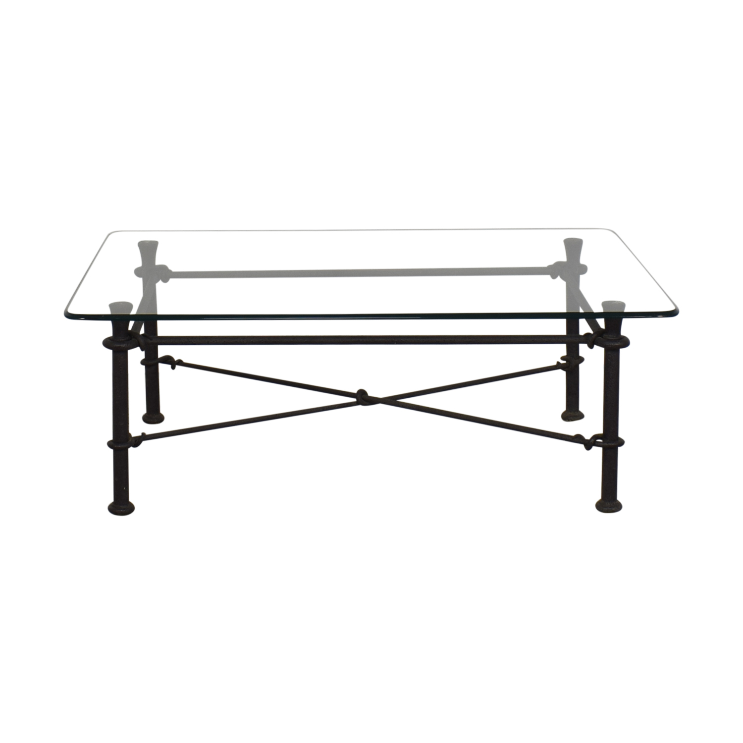 Ethan Allen Ethan Allen Glass Coffee Table with Iron Base price
