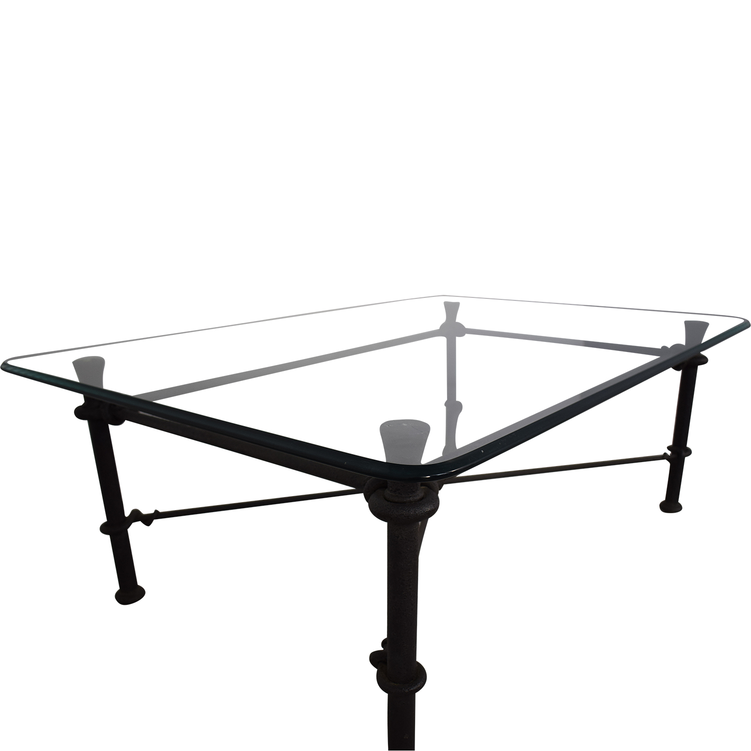 Ethan Allen Ethan Allen Glass Coffee Table with Iron Base nyc