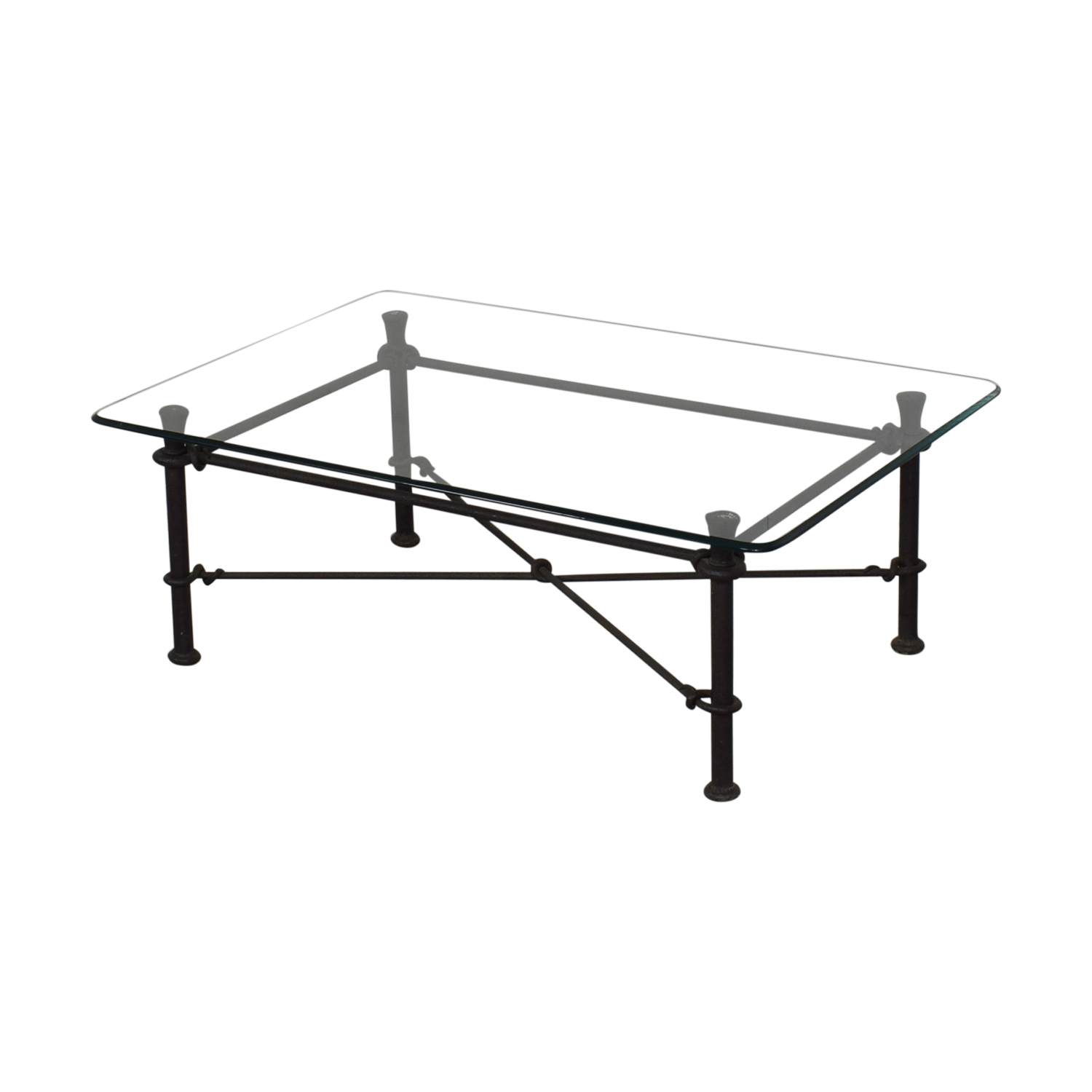 shop Ethan Allen Glass Coffee Table with Iron Base Ethan Allen Tables