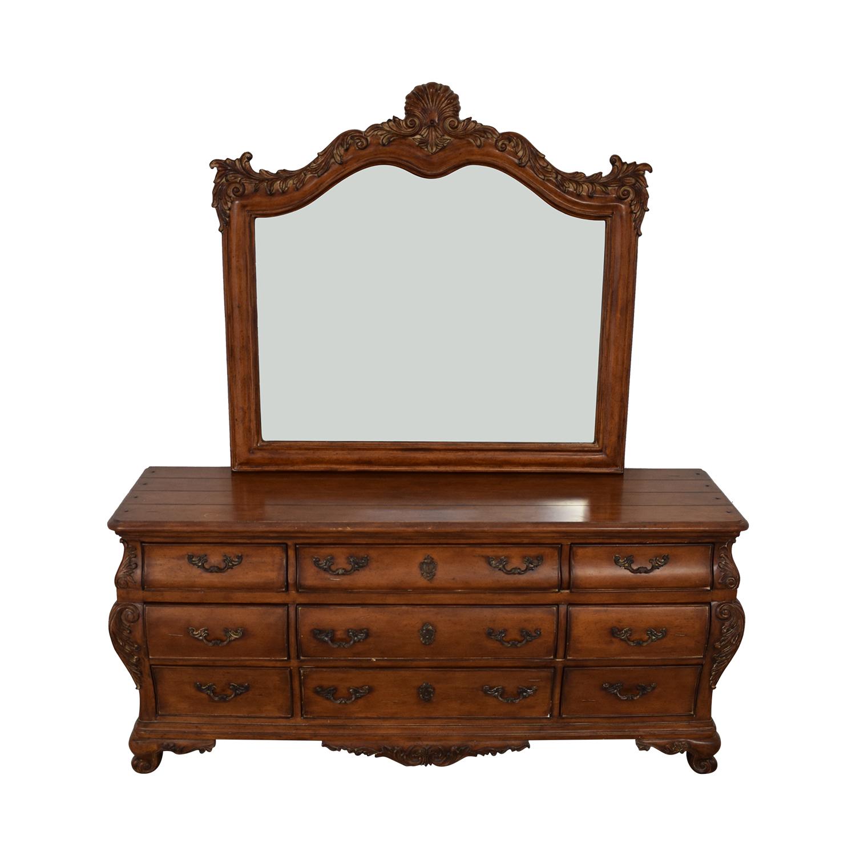 Thomasville Thomasville Chateau Provence Bombe Dresser and Landscape Mirror nj