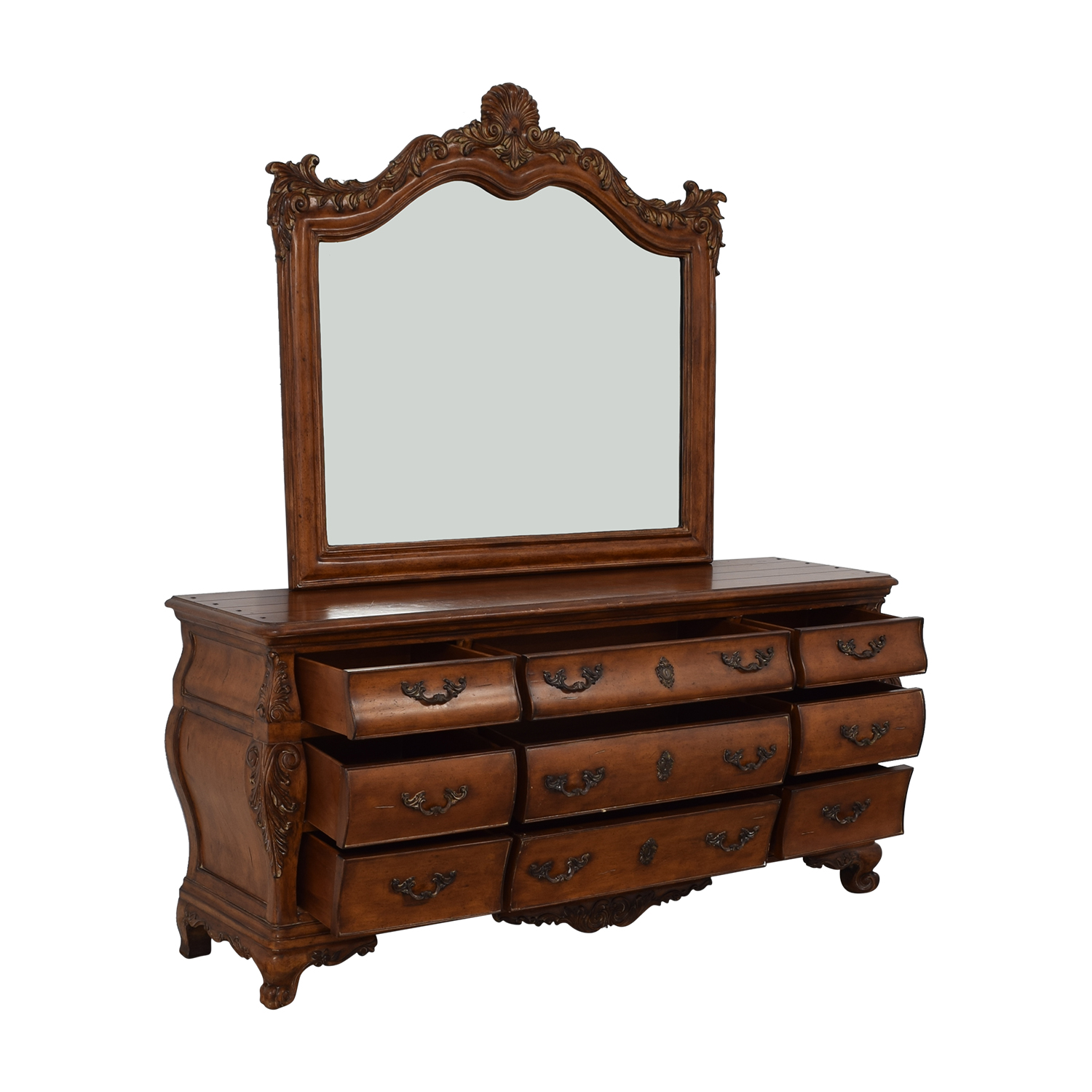 Thomasville Thomasville Chateau Provence Bombe Dresser and Landscape Mirror dimensions