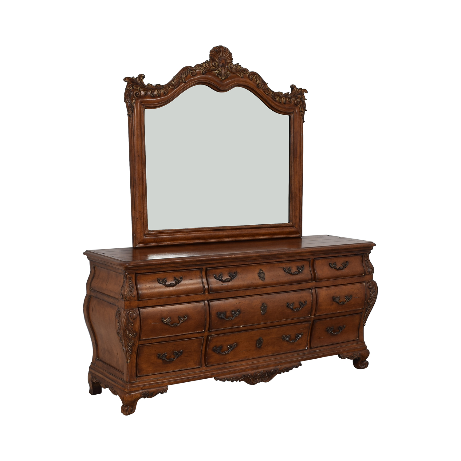 Thomasville Thomasville Chateau Provence Bombe Dresser and Landscape Mirror brown