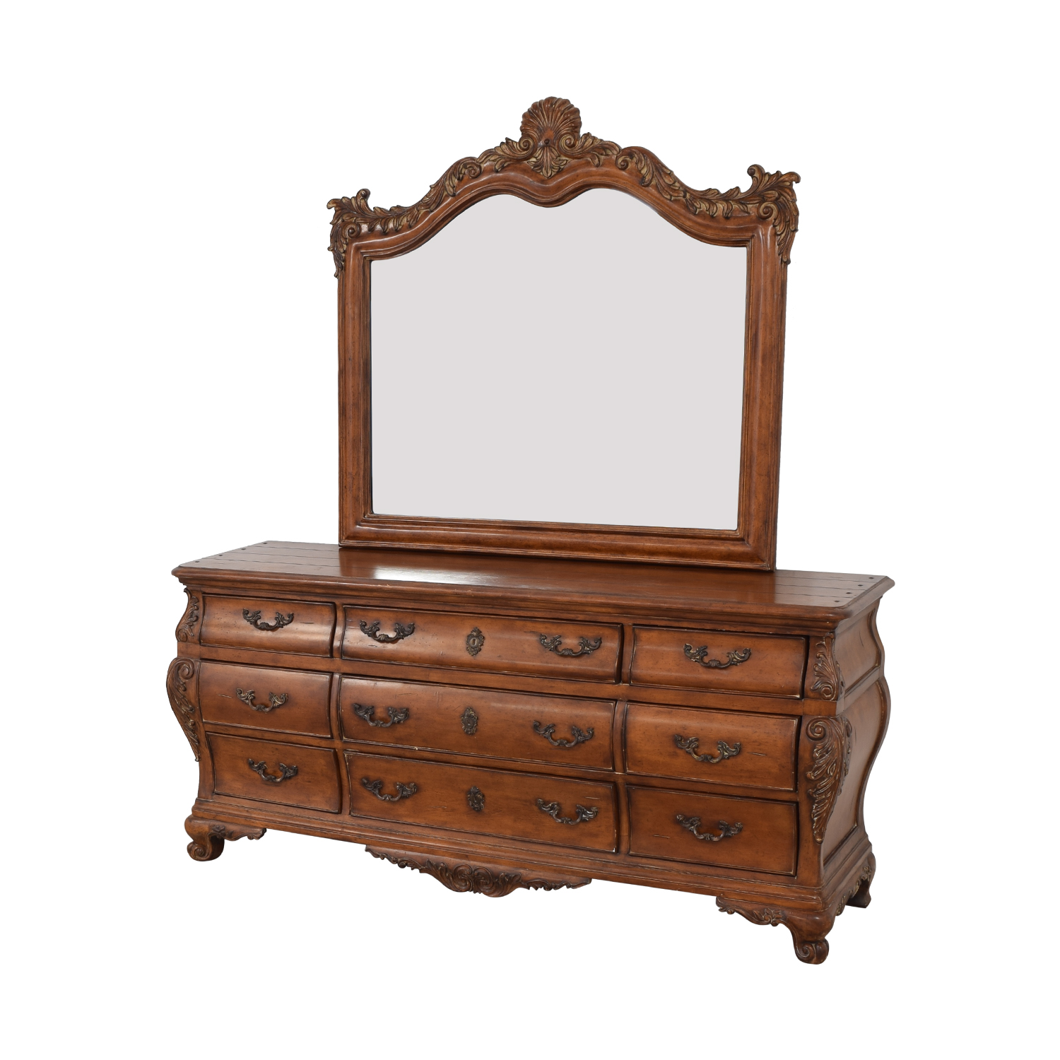 Thomasville Thomasville Chateau Provence Bombe Dresser and Landscape Mirror used