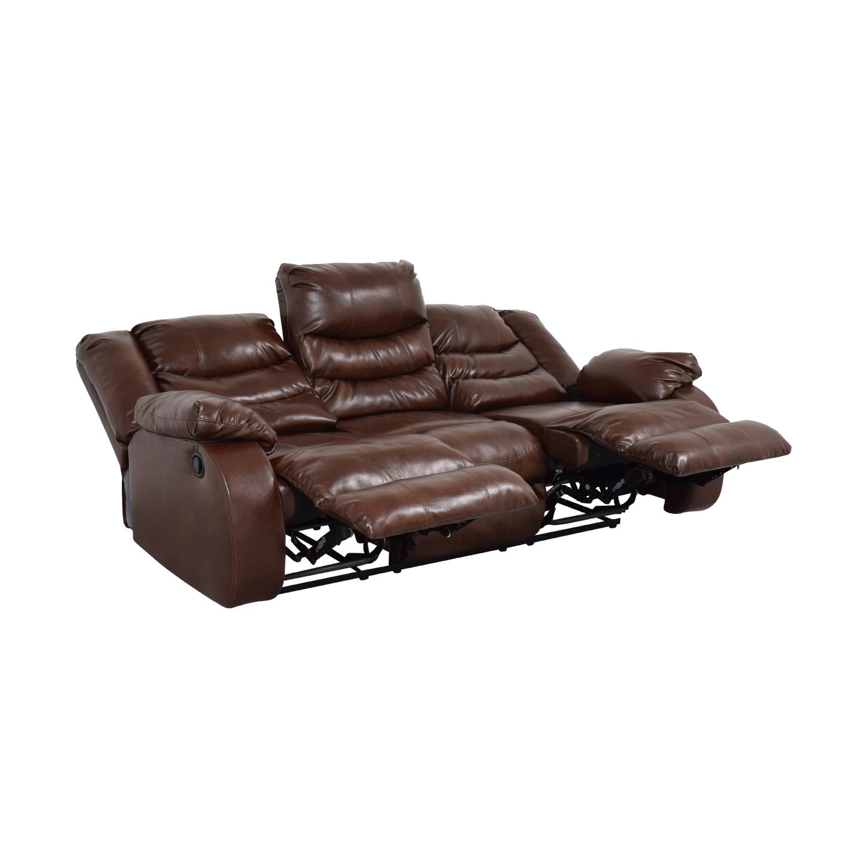 Three Seater Reclining Sofa dark brown