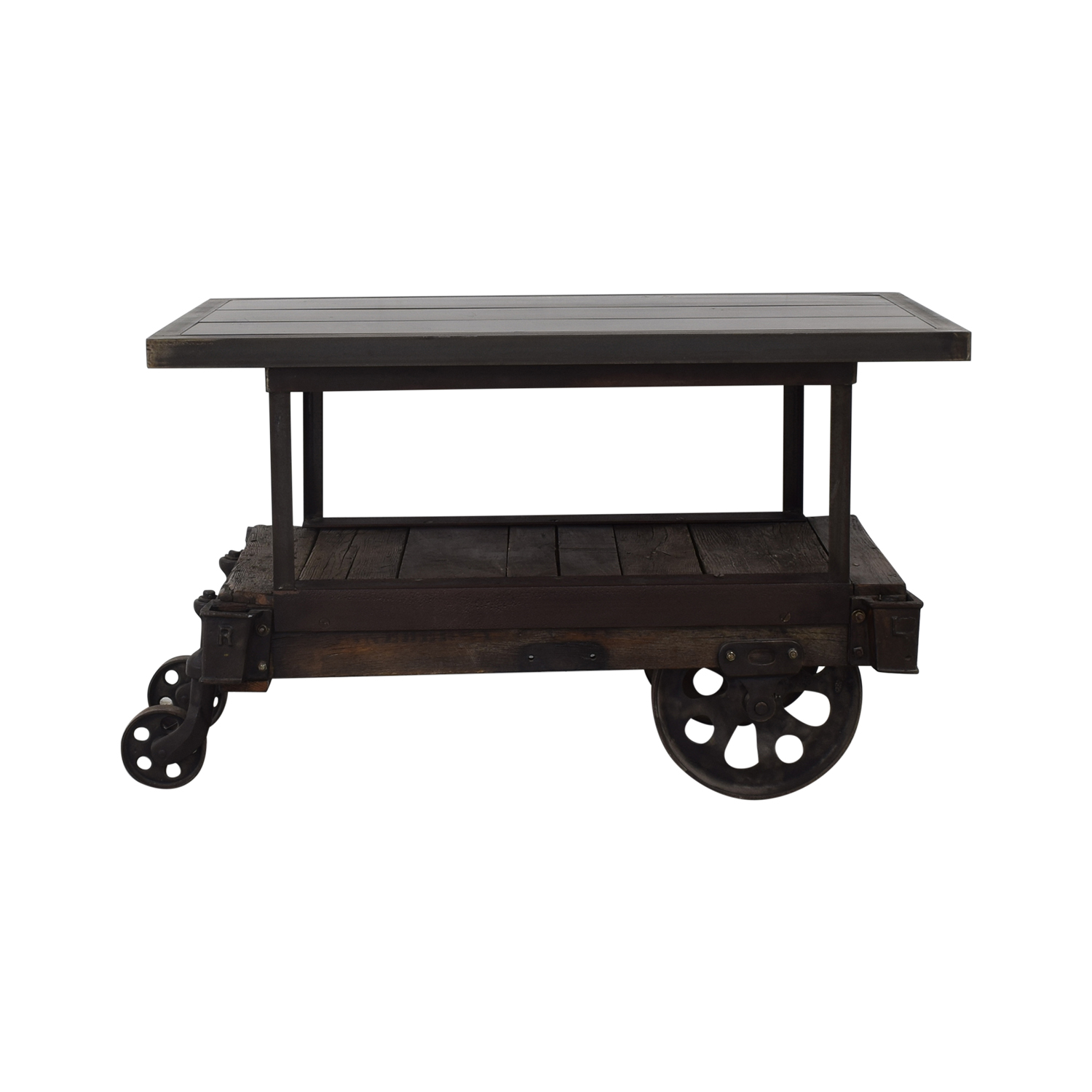 Rustic Wood Table Cart black and brown