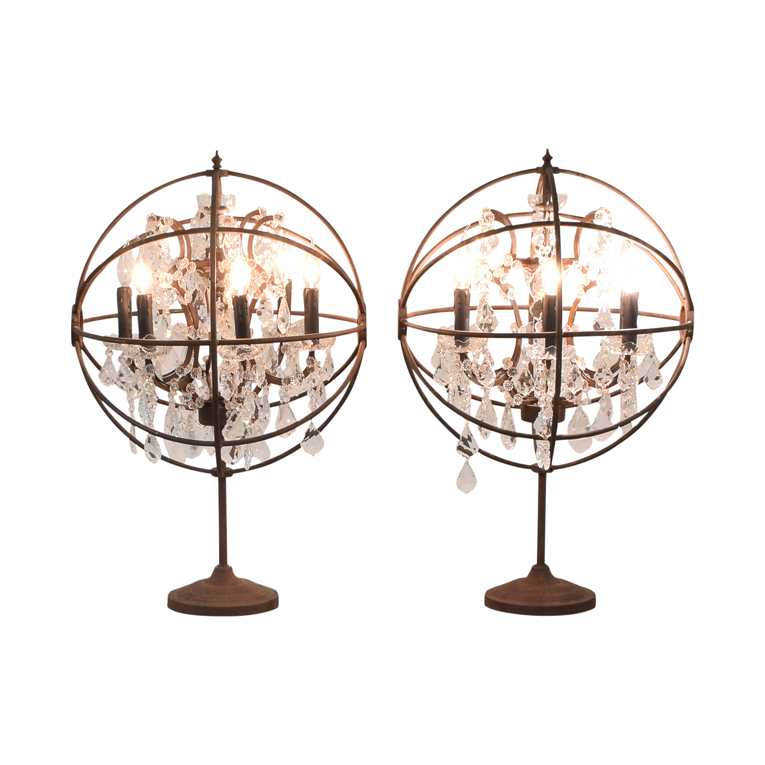 Restoration Hardware Restoration Hardware Orb Crystal Table Lamps second hand