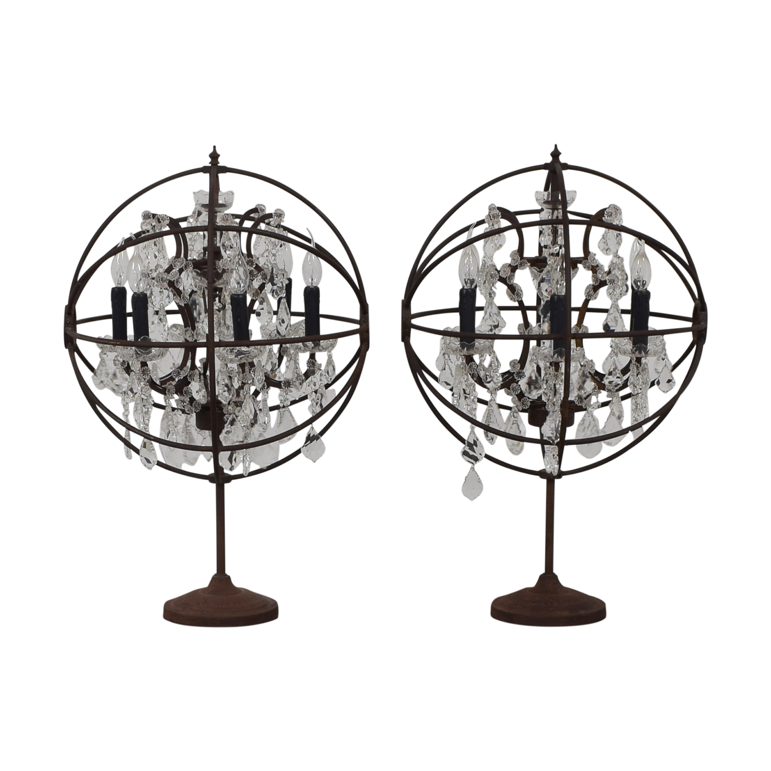 Restoration Hardware Orb Crystal Table Lamps sale