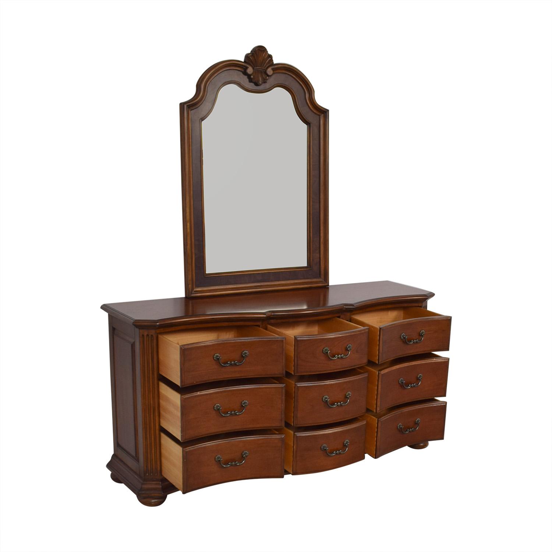 shop Ethan Allen Serpentine Dresser with Mirror Ethan Allen Storage
