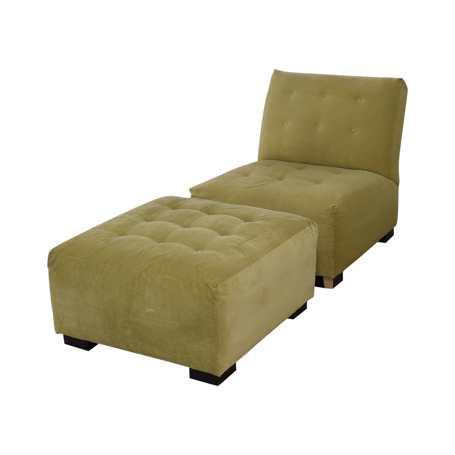 buy Crate & Barrel Sage Green Tufted Lounge Chair & Ottoman Crate & Barrel