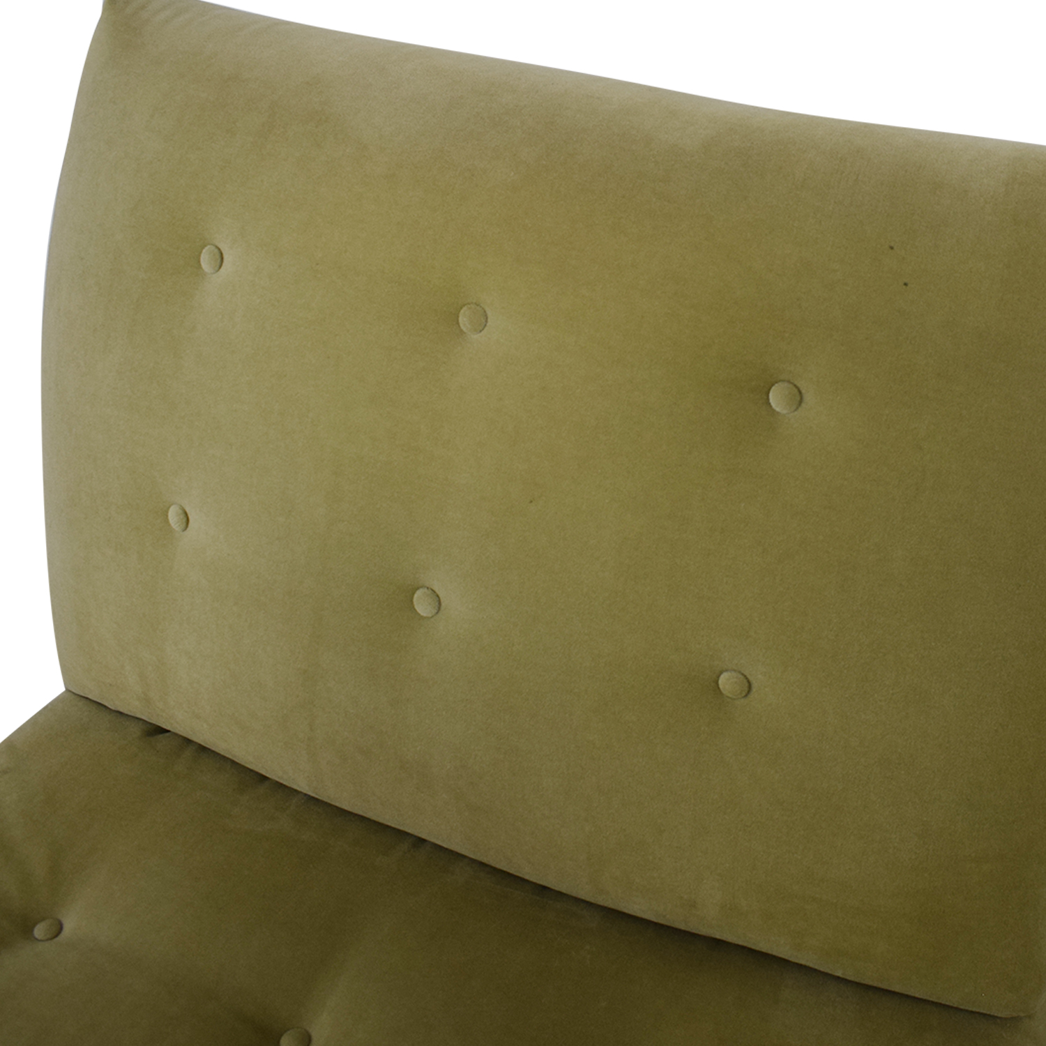 Crate & Barrel Sage Green Tufted Lounge Chair & Ottoman / Chairs