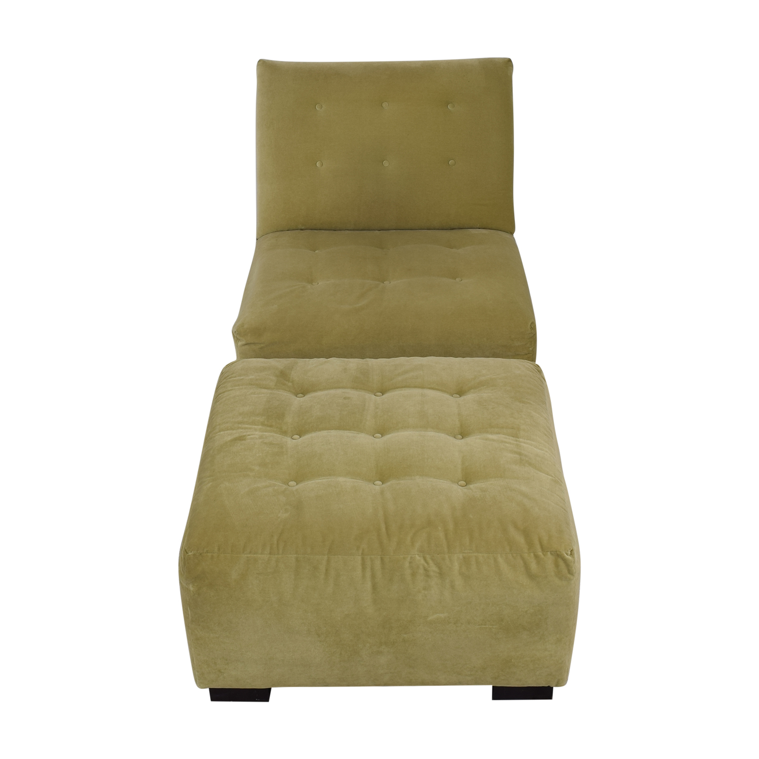 Crate & Barrel Crate & Barrel Sage Green Tufted Lounge Chair & Ottoman nj