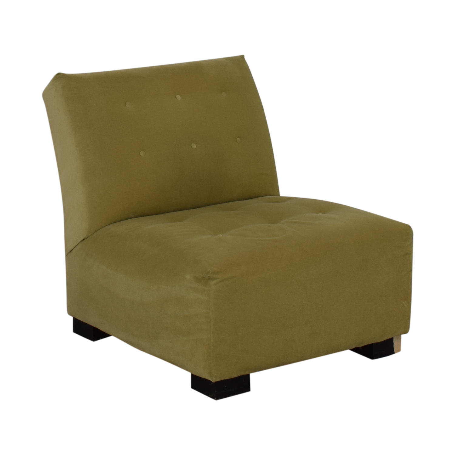 Crate & Barrel Crate & Barrel Sage Green Tufted Lounge Chair & Ottoman discount