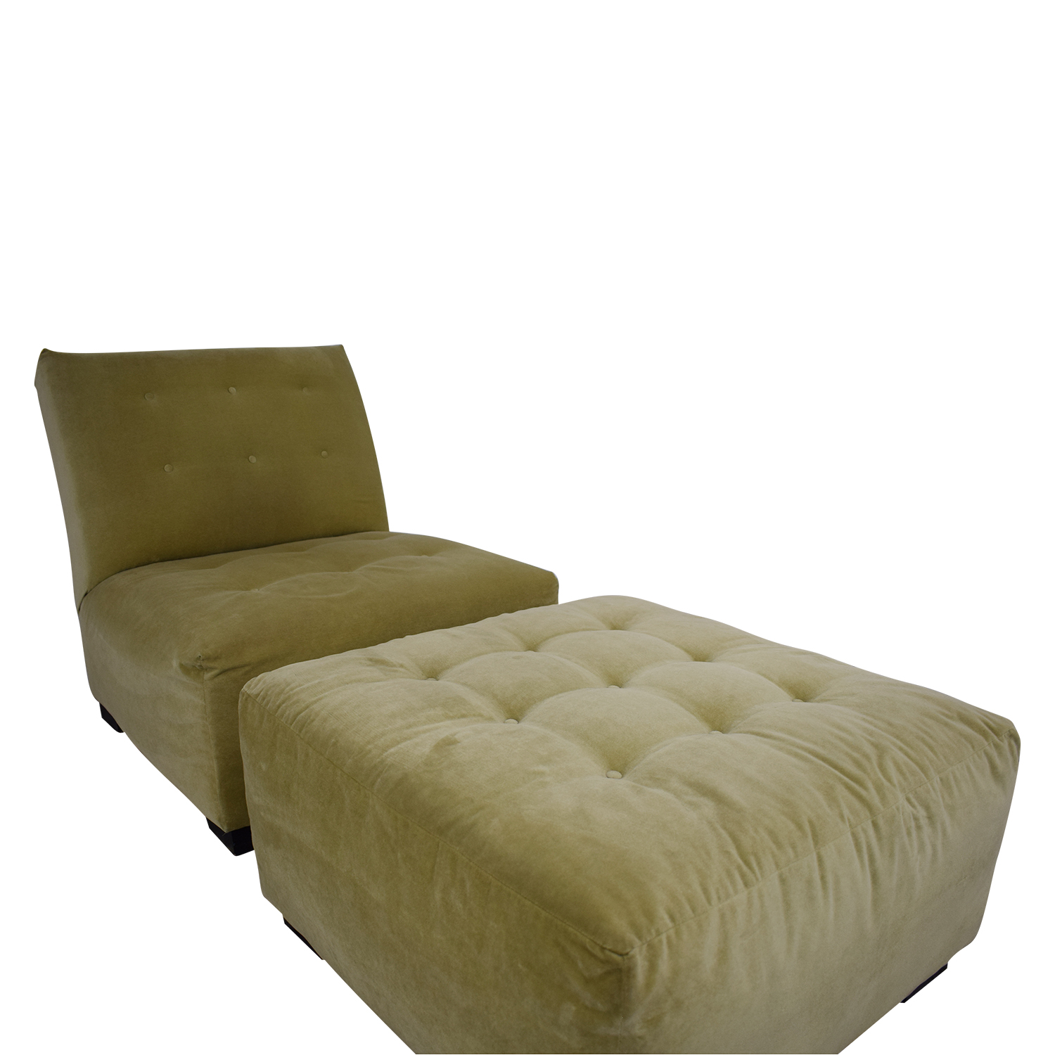 Crate & Barrel Crate & Barrel Sage Green Tufted Lounge Chair & Ottoman second hand