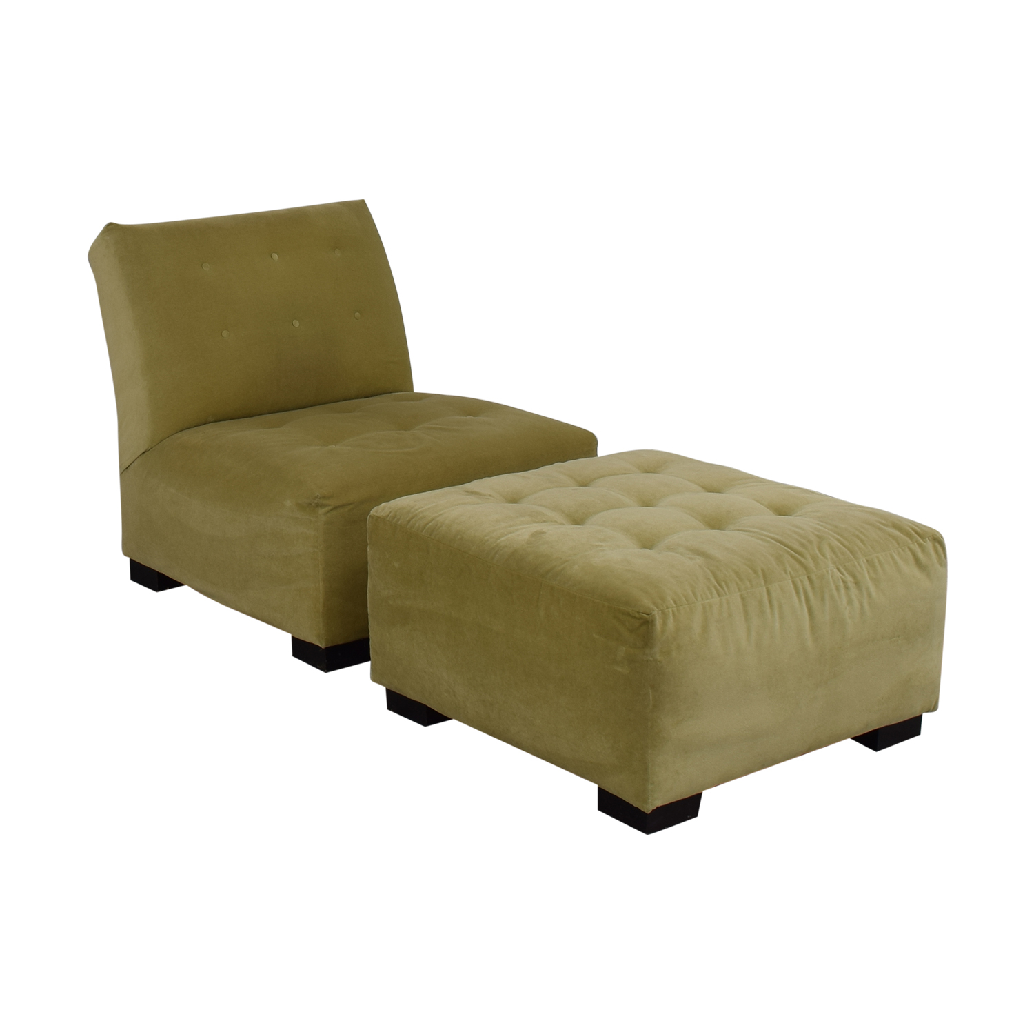 shop Crate & Barrel Sage Green Tufted Lounge Chair & Ottoman Crate & Barrel Accent Chairs