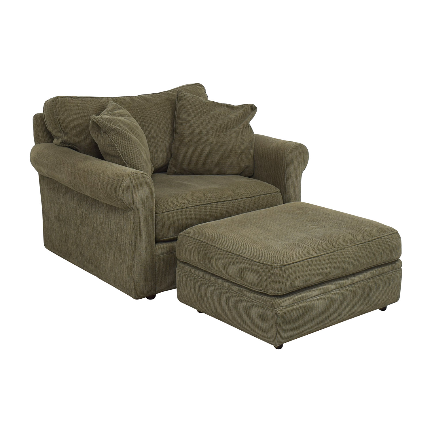 Crate & Barrel Upholstered Chair with Ottoman Crate & Barrel