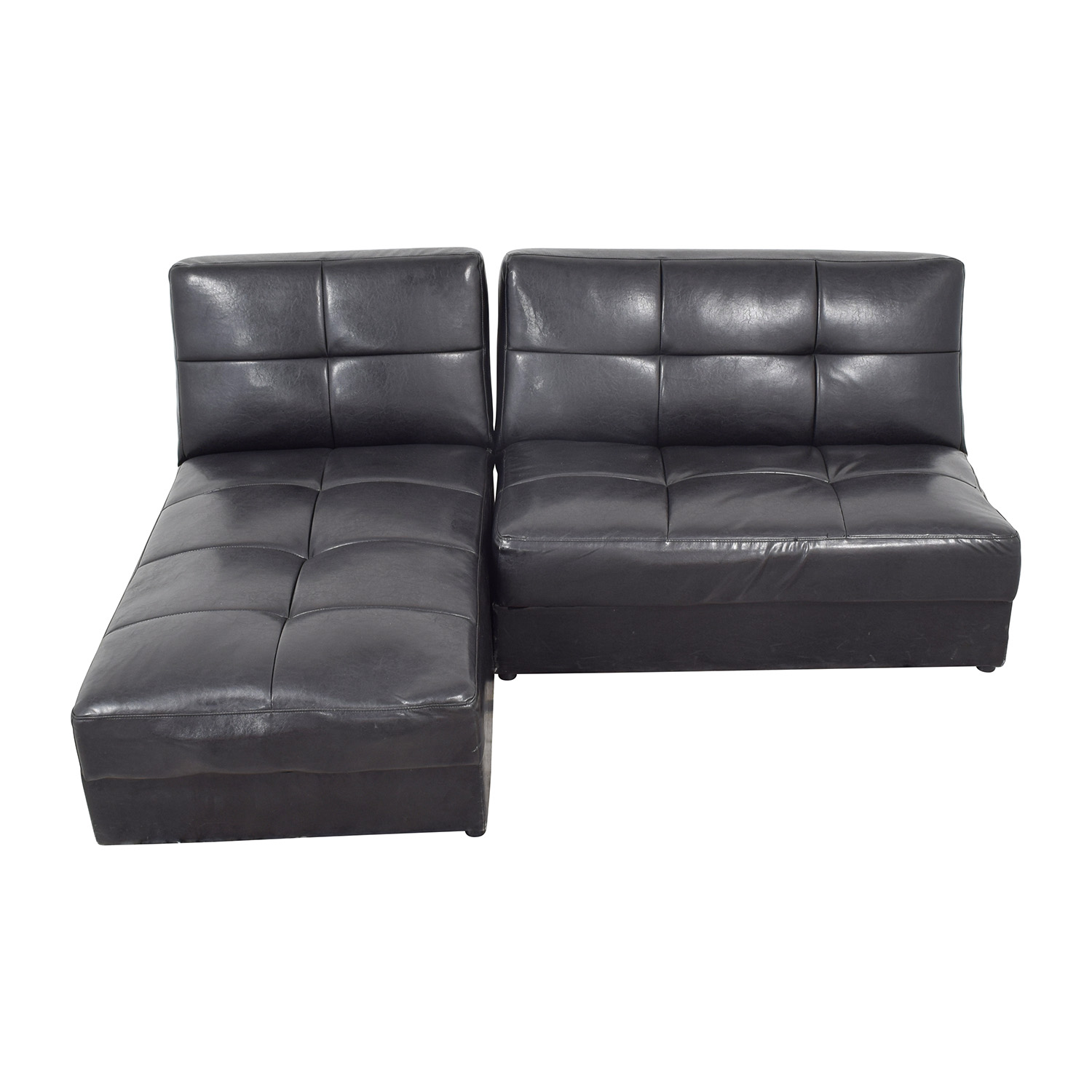 Leather Sleeper Sectional with Storage / Sectionals