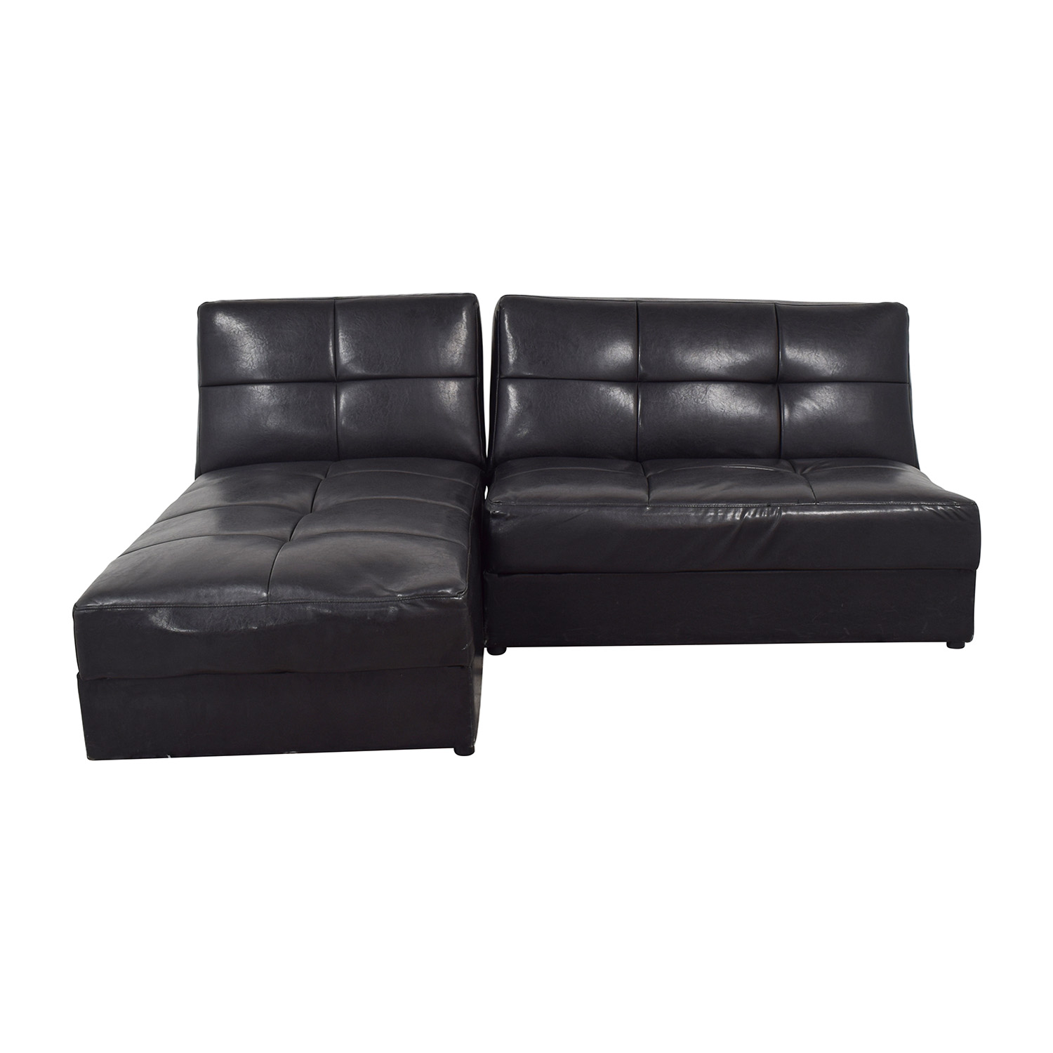 Leather Sleeper Sectional with Storage Sectionals
