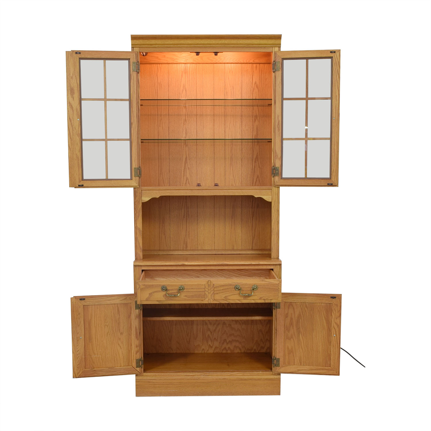 Ethan Allen Canterbury Oak Chippendale Display Case and Cabinet dimensions