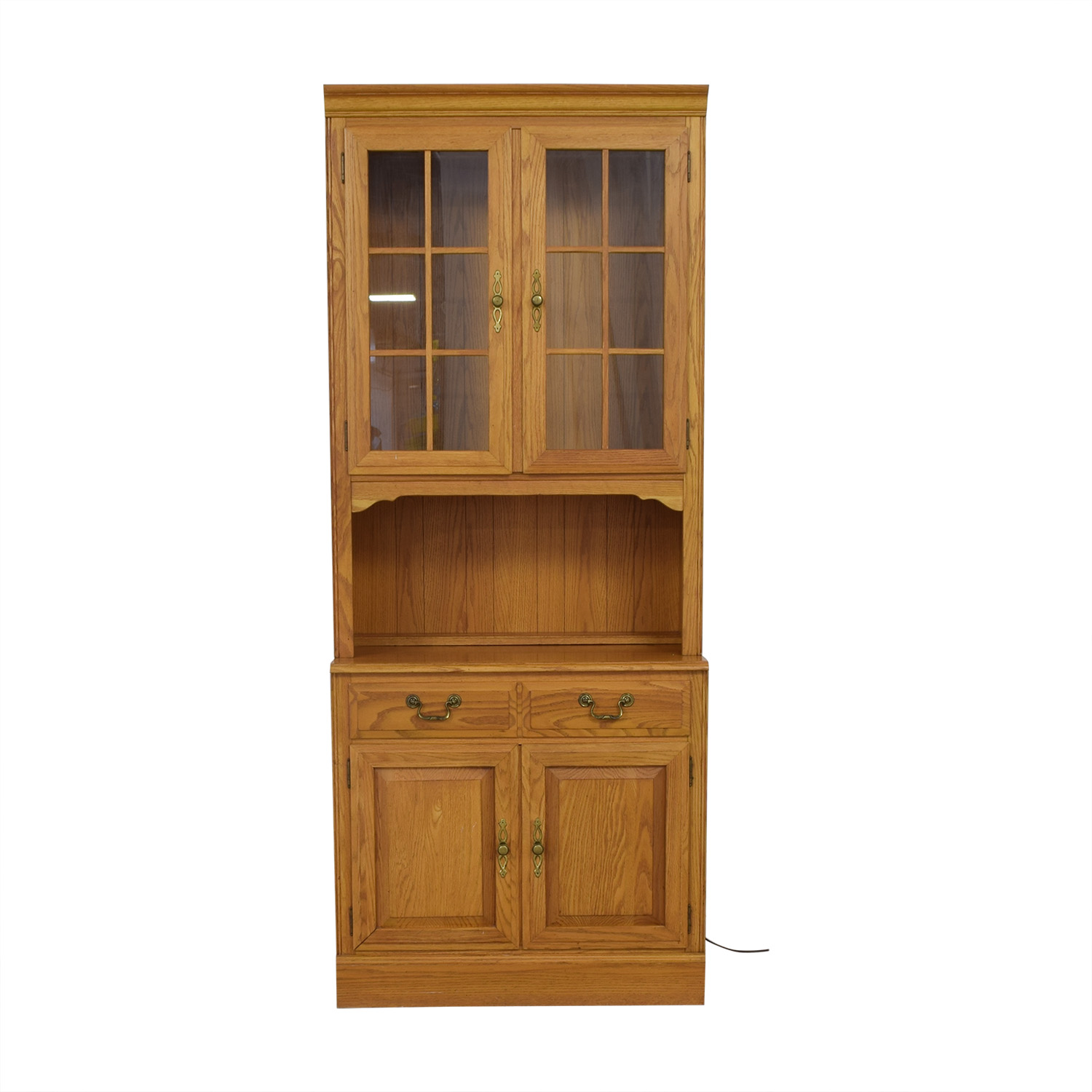 Ethan Allen Canterbury Oak Chippendale Display Case and Cabinet discount