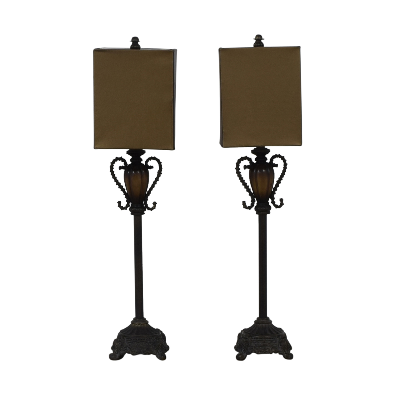 Neiman Marcus Brass and Leather Lamps brown