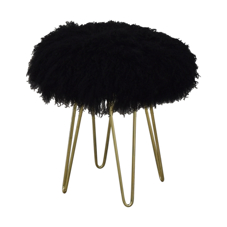 Shag-Top Stool black & gold
