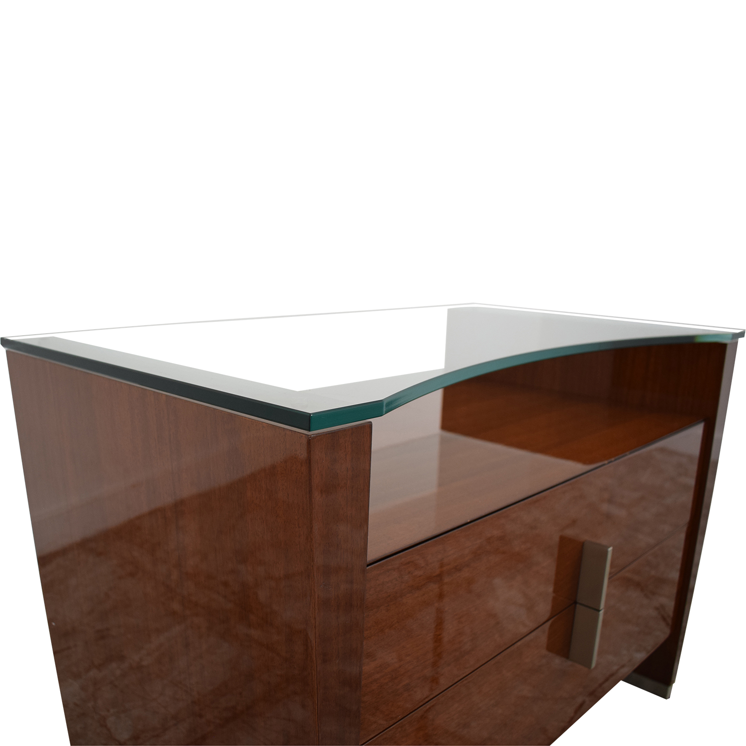 shop Dark Brown Nightstand with Transparent Shelf  End Tables