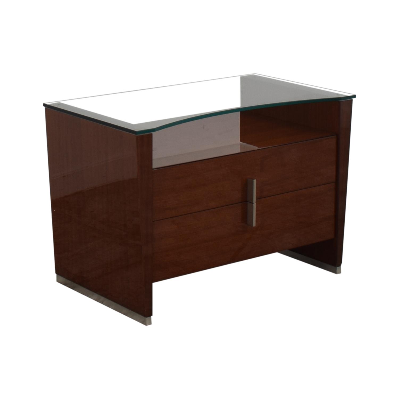 Dark Brown Nightstand with Transparent Shelf on sale